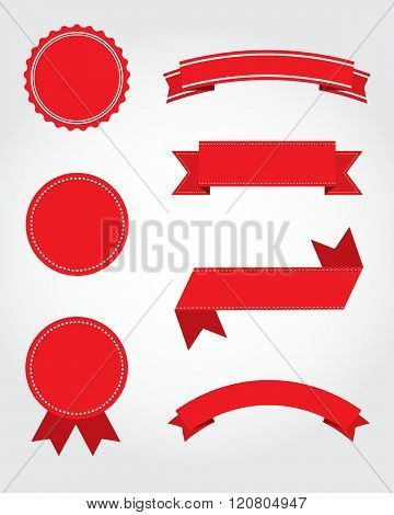 A collection of vector seal, banner and ribbon design elements