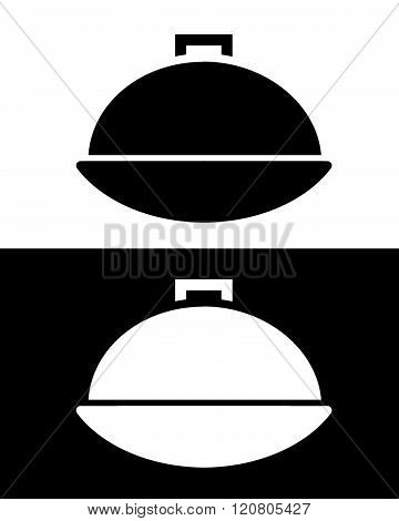 A vector illustration of a black and white serving tray