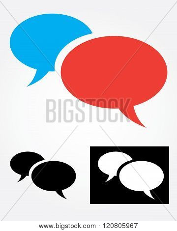 Vector Speech Bubble Set in Color, Black and Reverse