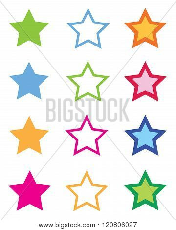 A huge collection of colourful vector stars