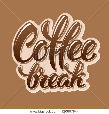 Calligraphy Lettering Inscription Coffee Break. Coffee Break Concept. Vector Illustration.