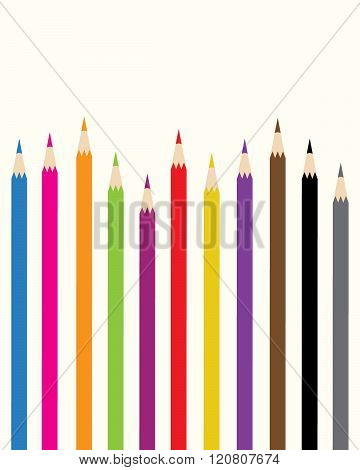 A collection of colourful vector pencil crayons