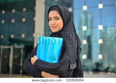 Emarati Arab Business Woman Outside The Office