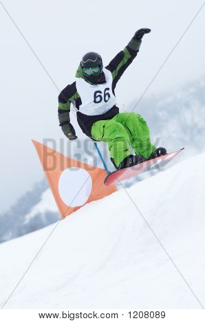 Snowboarder In Race
