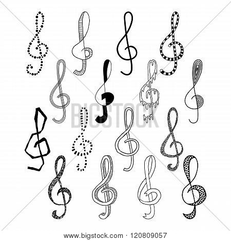 Doodle set of black treble clef, vector illustration