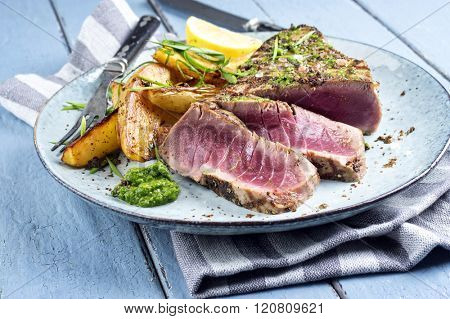 Tuna Steak with Home Fries