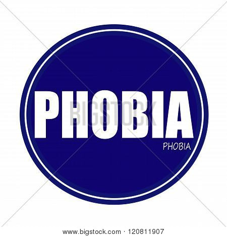 an images of PHOBIA white stamp text on blue