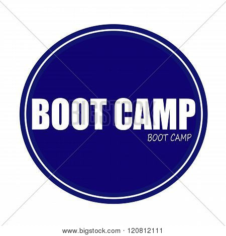 BOOT CAMP white stamp text on blue