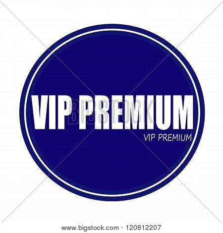 VIP PREMIUM white stamp text on blue