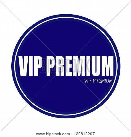 VIP PREMIUM white stamp text on blue