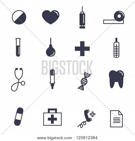 Health, Medical Contour Icons  Set Vector Illustration.