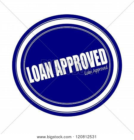 LOAN APPROVED white stamp text on blue