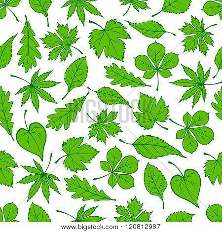 Green tree leaves seamless pattern