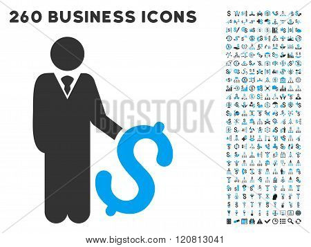 Investor Icon with Flat Vector Set