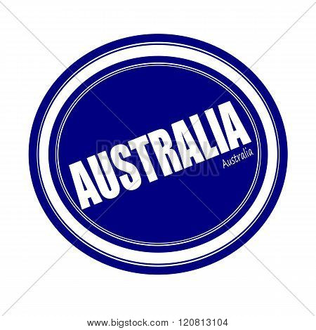 an images of AUSTRALIA white stamp text on blue
