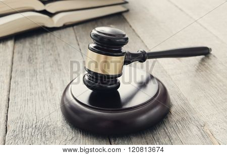 Justice. Judge hammer on the table