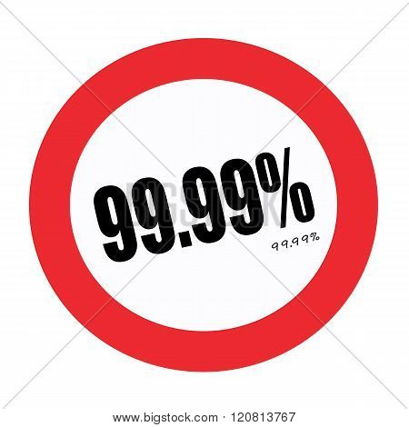 an images of 99.99% black stamp text on white