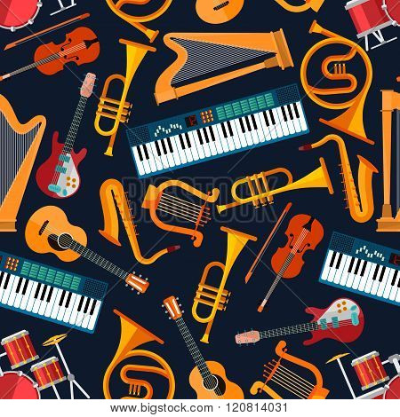 Musical seamless pattern with instruments