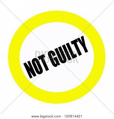 NOT GUILTY black stamp text on white