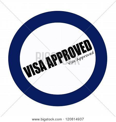 VISA APPROVED black stamp text on blueblack