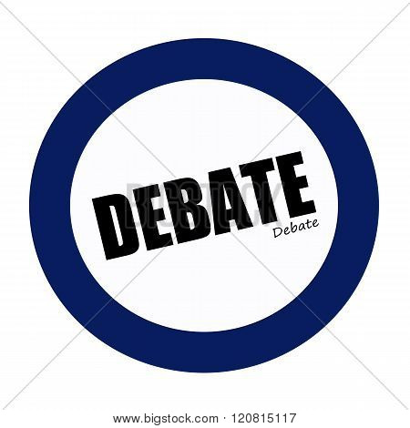an images of DEBATE black stamp text on white