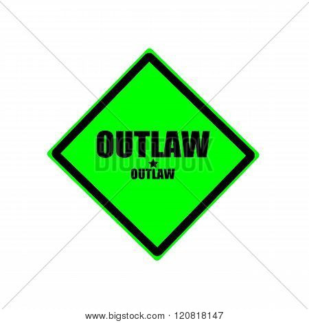Outlaw black stamp text on green background