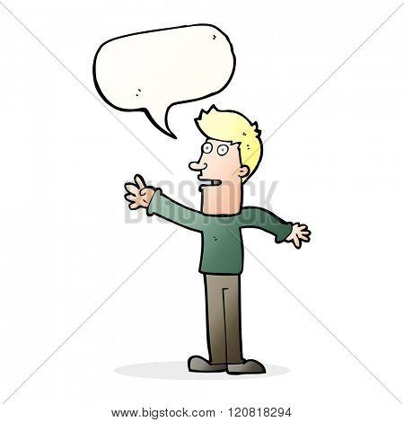 cartoon man reaching with speech bubble