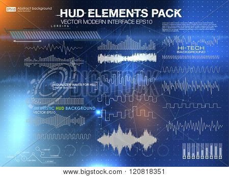 set audio equalizer technology, pulse musical. abstract isolated vector illustration. Set graphs and charts. Statistic and data, information infographic. HUD background outer space