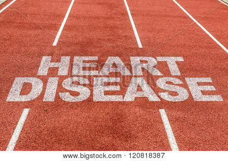 Heart Disease written on running track