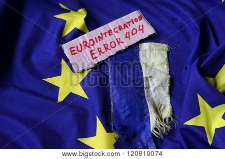 Euro integration.Error 404.EU and Ukraine Flag