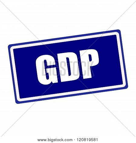 GDP white stamp text on blue background
