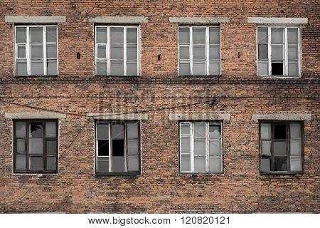 old building red brick broken windows