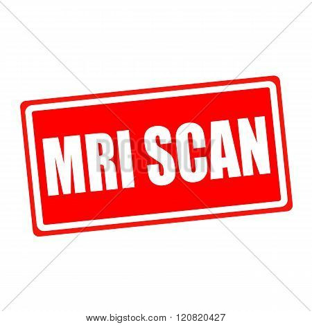 Mri scan white stamp text on red backgroud