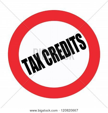 Tax credits black stamp text on white