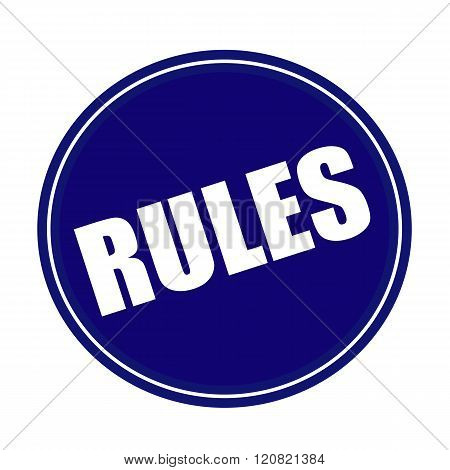 an images of Rules white stamp text on blue