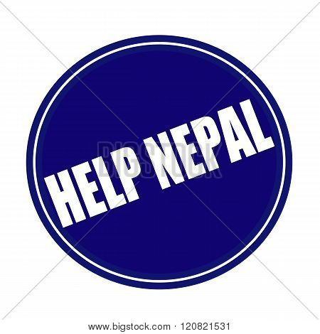 Help Nepal white stamp text on blue