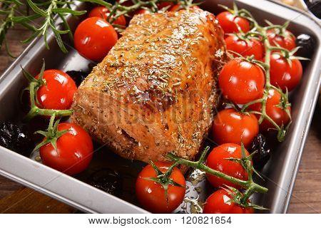 Roasted Pork Loin Stuffed With Prune
