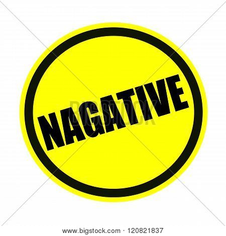 an images of Negative black stamp text on yellow