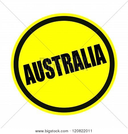 an images of AUSTRALIA black stamp text on yellow