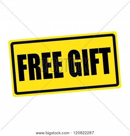 Free gift black stamp text on yellow