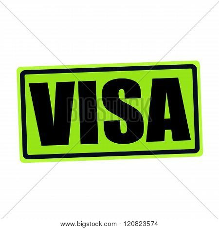 an images of VISA black stamp text on green