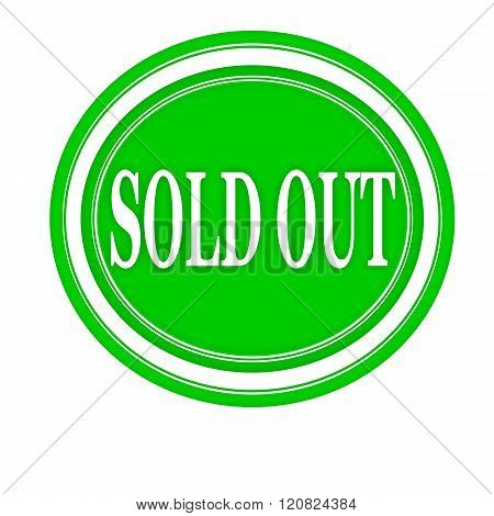 SOLD OUT white stamp text on green