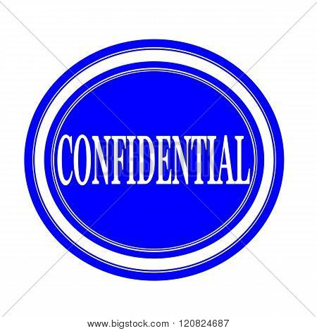 an images of Confidential white stamp text on blue