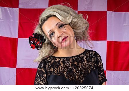 Ruffled woman with smudged make up