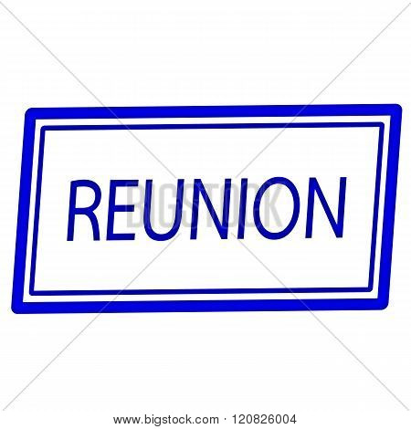 an images of Reunion blue stamp text on white