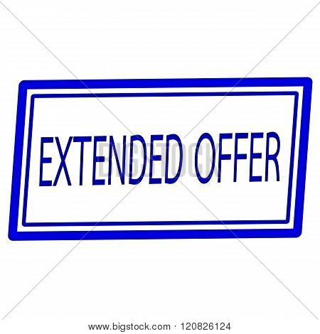 Extended offer blue stamp text on white