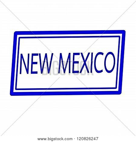 an images of New Mexico blue stamp text on white