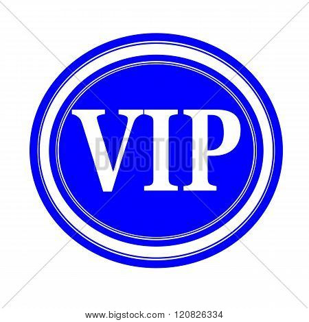 an images of VIP white stamp text on blue