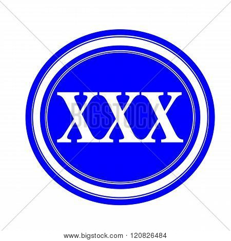 an images of XXX white stamp text on blue