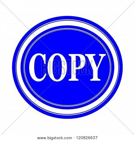an images of Copy white stamp text on blue